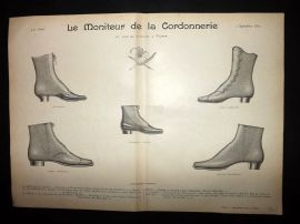 Le Moniteur de la Cordonnerie 1893 Rare Antique Shoe Design Print 27